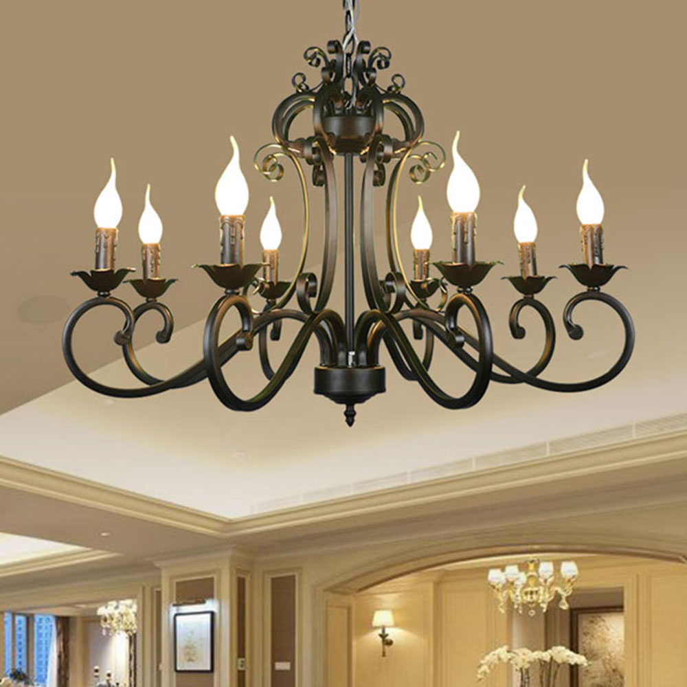 Ac110v 220v Home Ceiling Chandeliers Metal Iron Light