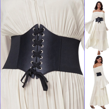 Cintura corsetto Per Le Donne Elastico Cintura Larga Plus Size 3XL Elasticità Cinturino Cinture per Gli Accessori Del Vestito Femminile Nero Cincher