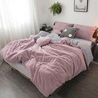 Розовый белый серый принцессы Удобная флисовая ткань зима толстые постельных принадлежностей пододеяльник кровать юбка установлены лист