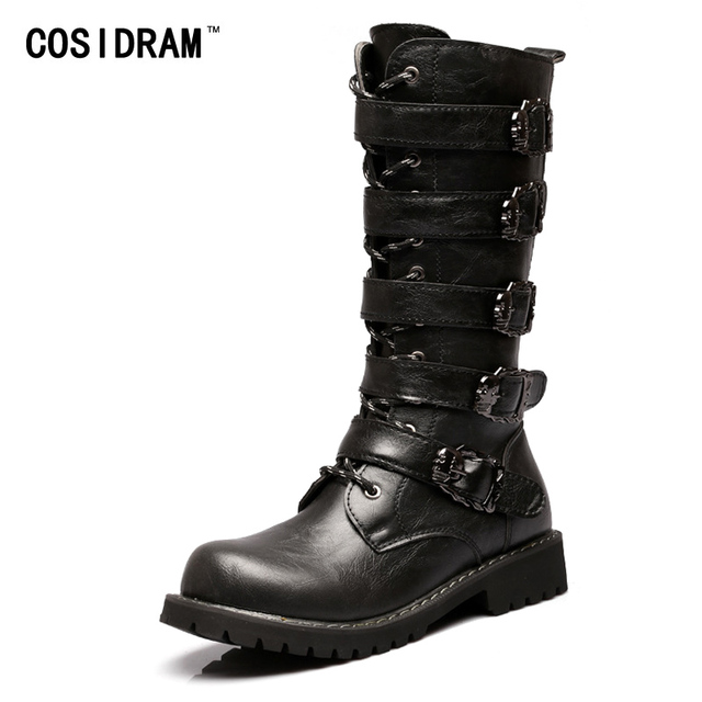 COSIDRAM Mid-Calf Motorcycle Men Boots PU Leather Skull Winter Shoes Male Botas Hombre High top Men Shoes Plus Size 45 RMC-132