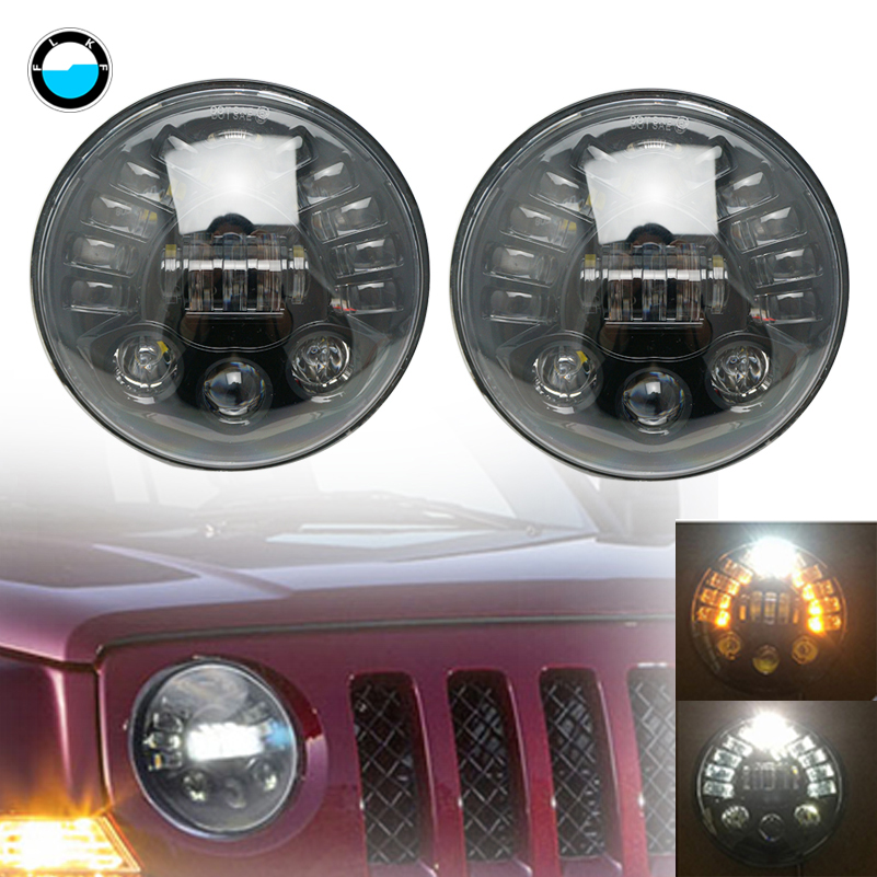7Inch LED Headlights With DRL Turn Signal Lights for Jeep Wrangler JK CJ TJ LJ Hummer H1 H2 Dodge Toyota FJ Cruiser 07-14. 2x dot 7 inch led headlights turn signal drl bulbs set kit projector 90w for jeep wrangler jk lj jku tj cj sahara rubicon