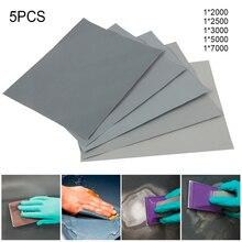 5 шт. наждачная бумага набор 2000 2500 3000 5000 7000 зернистость шлифовальная бумага вода/сухой абразивный песок бумага s