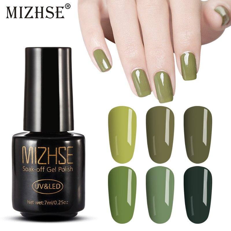 Us 1 21 49 Off Mizhse Uv Gel Nail Polish Gellak Uv Polish Gel Lacquer Uv Led Soak Off Nail Art Nail Permanent Nail Olive Green Color Series In Nail