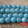 "Natural Stone Smooth Round Angelite Beads Blue Aventurine Beads16"" Strand 4 6 8 10MM Pick Size For Jewelry Making ANB01"