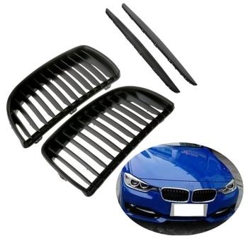 Głupi czarny przedni grill nerkowy kratki dla BMW E90 E91 Saloon 2005-2008 4D