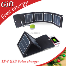 13W 5V Foldable Solar Charger 23.5% Highest Efficiency USB Output Solar Charger Compatible with mobiles, 5V USB Devices