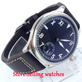 parnis black dial 6498 movement hand winding mens  watch