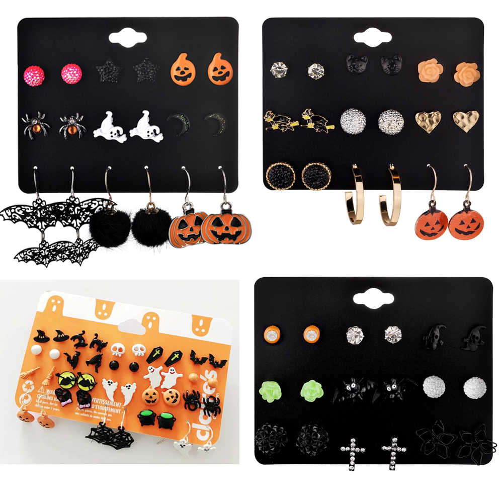 Fashion Halloween Stud Earring Set Women Bat Pumpkin Lamp Spider Web Skeleton Ghost Cross Pendant Ear Studs Wholesale Jewelry