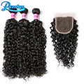 8A Peruvian Water Wave With Closure Wet And Wavy Peruvian Virgin Hair With Closure 3 Pcs Human Hair With Closure Water Wave