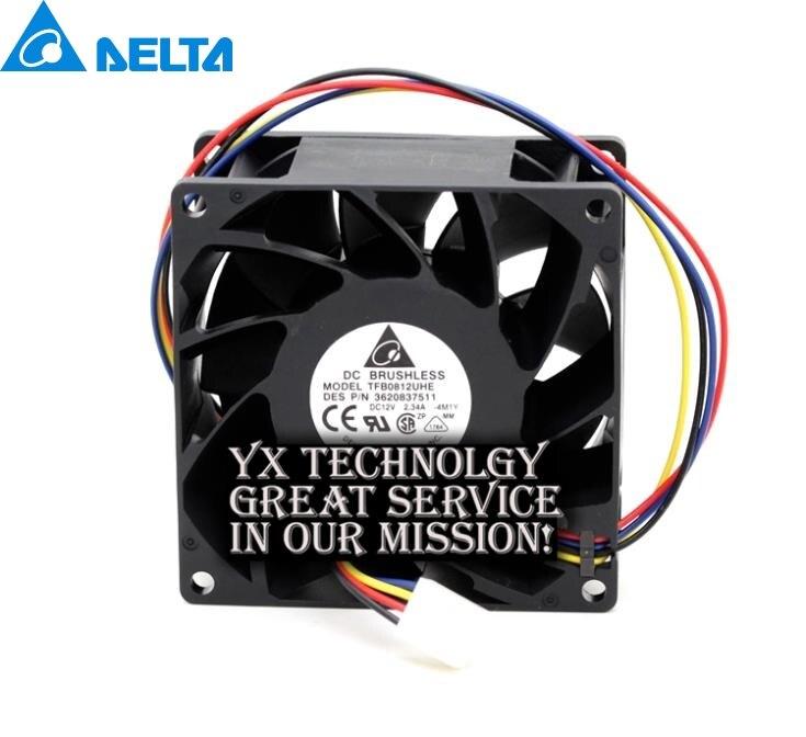2pcs Delta Origina new 8038 TFB0812UHE ultra violent 8000 rpm dual ball bearing fan pwm 2.34A for 80*80*38mm