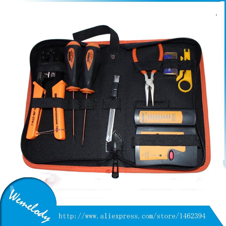 JK-N08 Professional Network cable clamp Pliers stripping crimping 6P/8P pliers+network cable tester+screwdriver set tools set [randomtext category=
