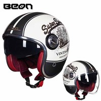BEON helmet B 108A motorcycle helmet 3/4 open face helmet motocross vintage casque Moto Casque Casco Capacete Retro Helmet