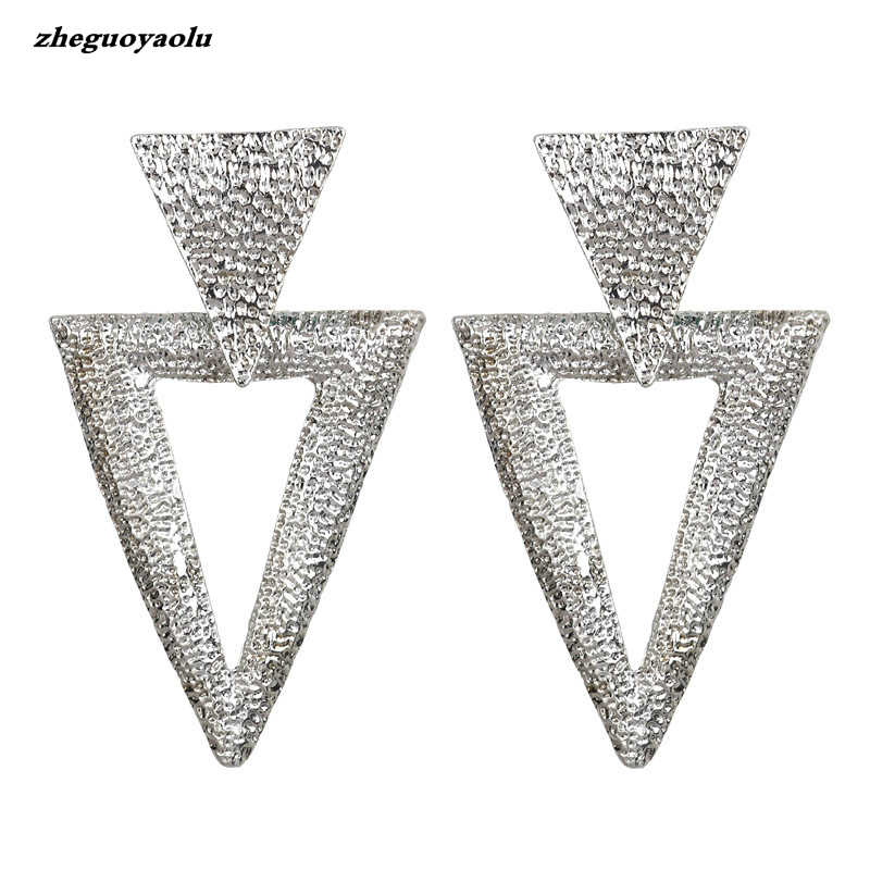 Korean Version Of The Simple Trend Of Geometric Metal Earrings Personality Temperament Triangle Earrings Jewelry Luxury Earrings