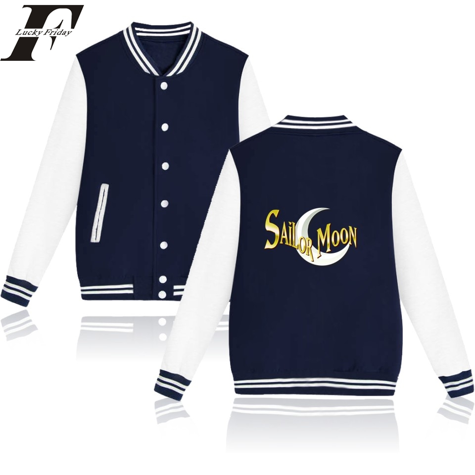 LUCKYFRIDAYF 2018 Sailor Moon Baseball jacket coat Hoodies men Hip Hop Stresswear basic female jackets Women Sweatshirt