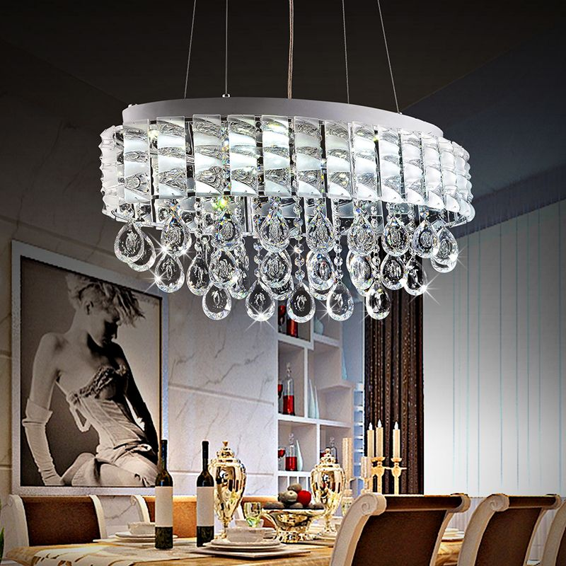 Modern Lustre LED Oval Crystal Chandeliers Luxury Crystal Pendant Lamps  Restaurant Light Fixture Dining Table Lighting Luminaire In Chandeliers  From Lights ...