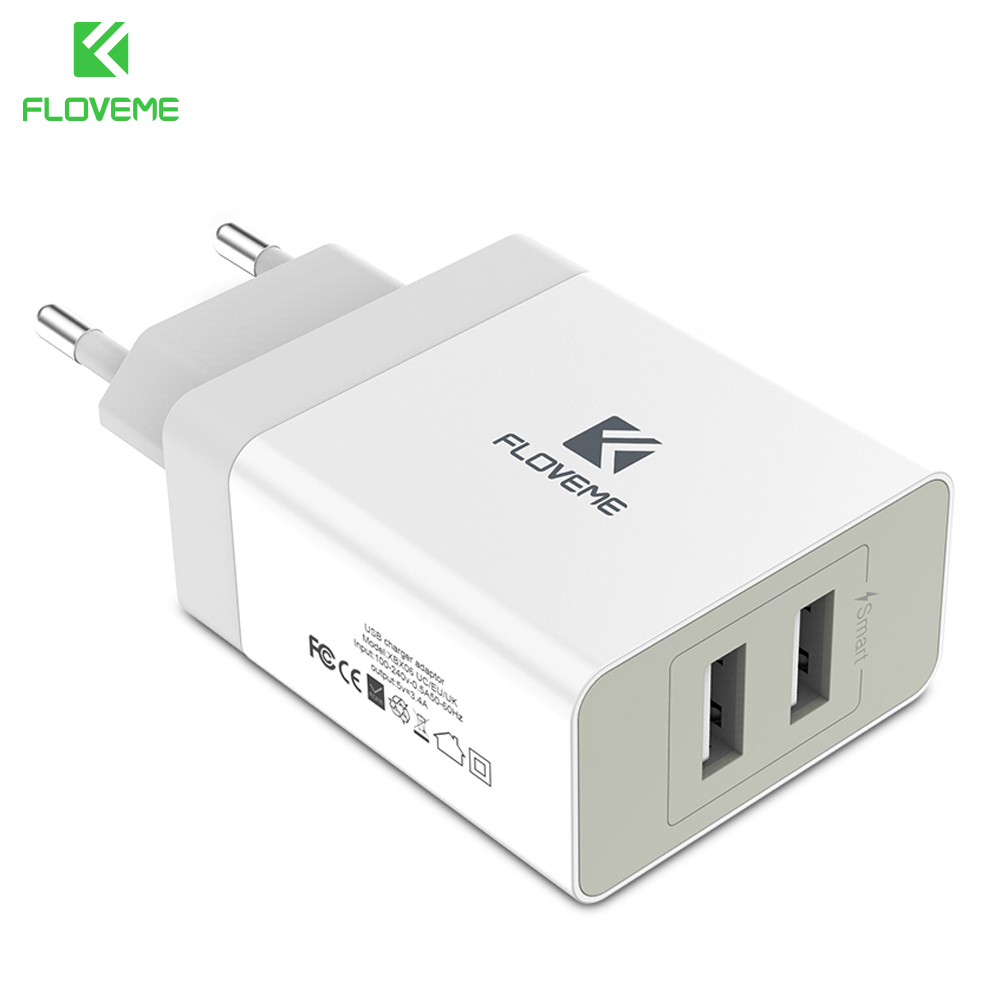 FLOVEME USB Charger for iPhone Mobile Phone Charger Dual USB Fast Wall Charger for Xiaomi mix For Samsung Huawei Tablet Charger