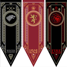 Game Of Thrones Families Flag Home Decor Wolf Dragon Polyester Banner Baratheon & Martell Bolton 45*150cm