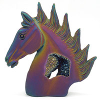 4.88 plated Geode Agate Horse Head Figurine Carved Animal Statue Office Home Decor Healing Crystal