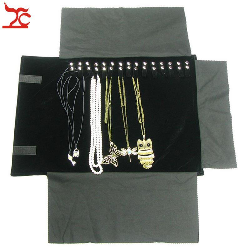 Portable Velvet Pendant Travel Roll Bag 16pcs Necklace