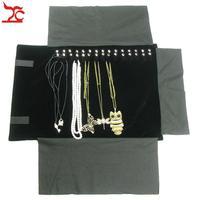 Xách tay Velvet Pendant Travel Cuốn Bag 16 Cái Vòng Cổ Tổ Chức Hiển Thị Pouch Brown PU Vòng Cổ Bao Bì Gift Bag Nhung Cuộn