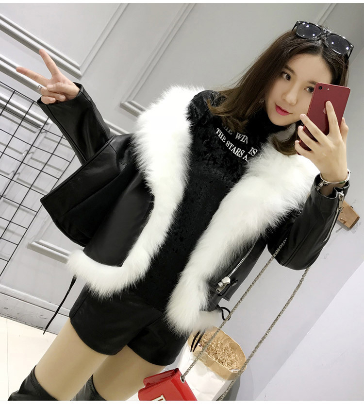 manteau moto fourrure cuir 1