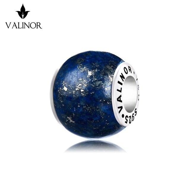 Lapis lazuli 925 ayar gümüş boncuk charms fit bilezik ve bilezikler TRBS004