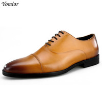 New Genuine Leather Lace Up Mens Formal High Quality Brogue Shoes Man Sexy Office Party Wedding