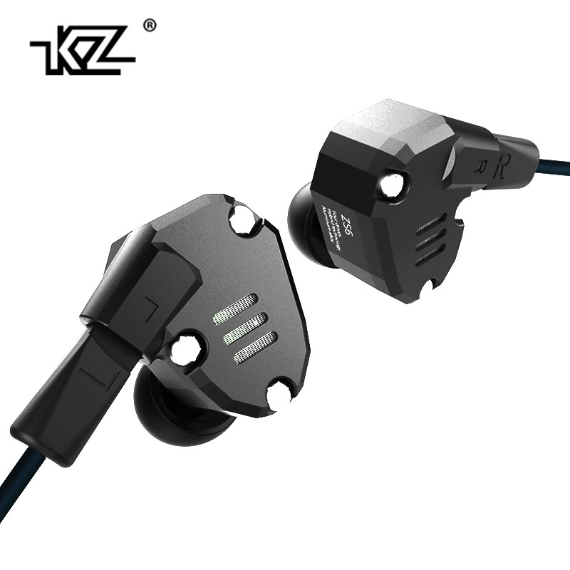 Original KZ ZS6 2DD+2BA Hybrid In Ear Earphone HIFI DJ Monito Running Sport Earphones Earplug Headset Earbud Two Colors in stock newest kz zs6 2dd 2ba hybrid in ear earphone hifi dj monitor running sport earphone earplug headset earbud kz zs5 pro