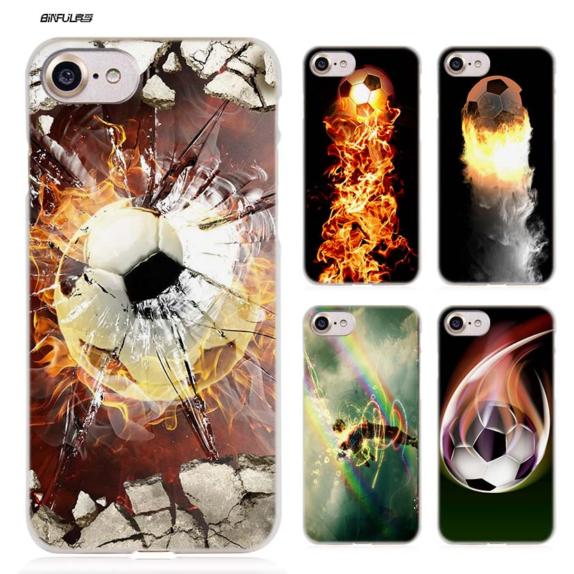 BiNFUL Fire Football Soccer Ball Hard Clear Case Cover Coque for iPhone X 6 6s 7 8 Plus 5s SE 5 4s 4 5c