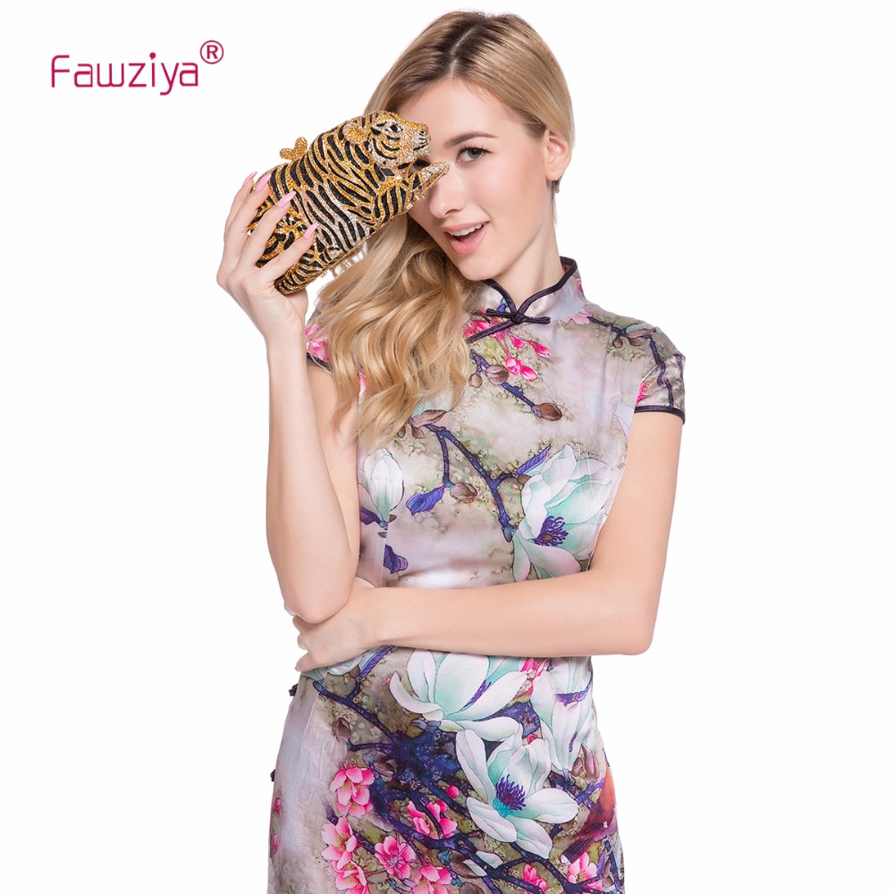 Fawziya Tiger Clutch Purse Bling Rhinestone Clutch Evening Bag chic beads pendant sweater chain necklace for women