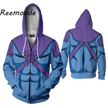 He-Man Master Universe Cosplay Costume 3D Print Hoodie Zipper Hooded Sweatshirts