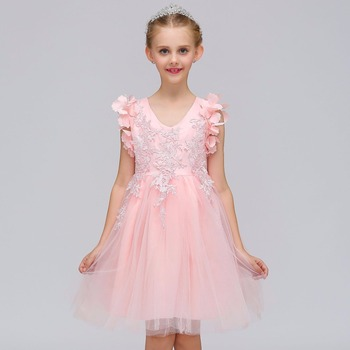 Flower Girl Dress For Wedding Party Pink Kids Formal Little Prom Gown Pageant 2018 New Fashion Style