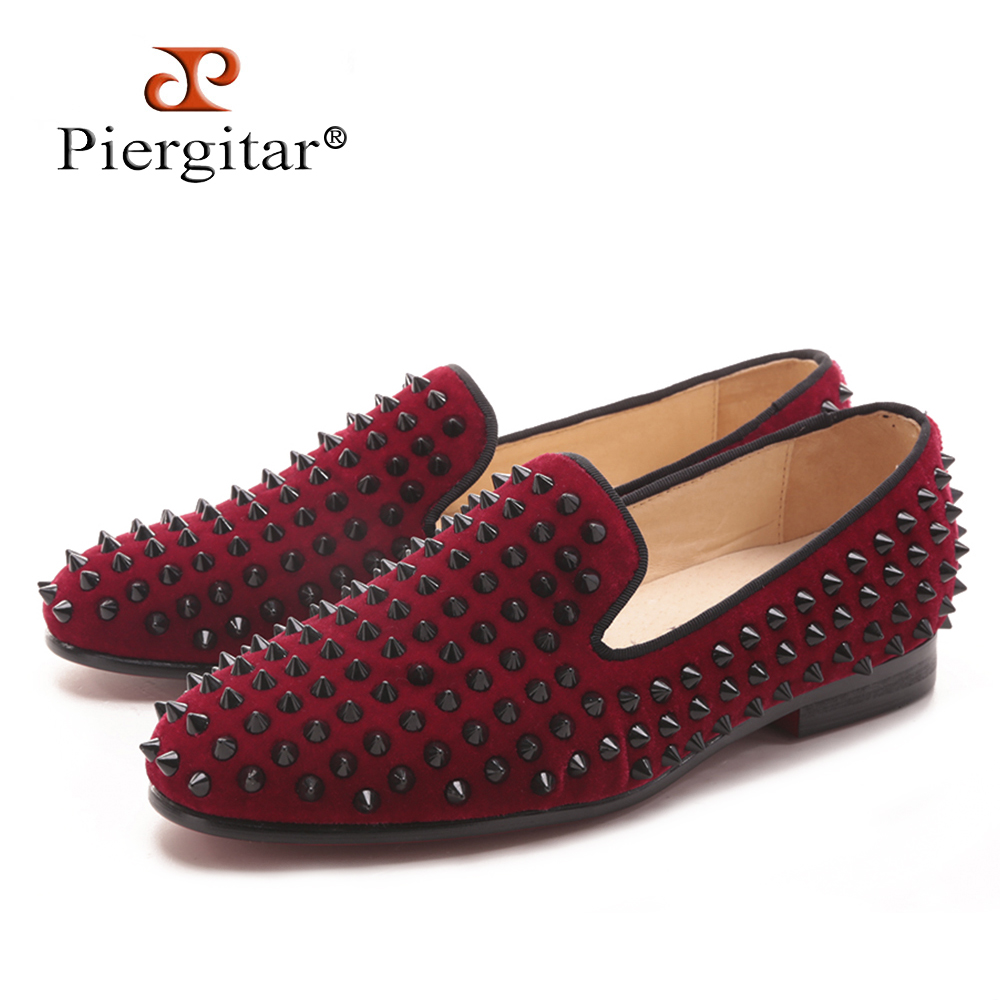 Piergitar 2017 new Handmade Women Three color velvet shoes with Rivets Fashion  Party and Prom lady 3adabdf8079e