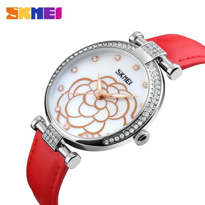 SKMEI Women Watches Leather Strap Ladies Quartz Wristwatch Luxury Brand Waterproof Dress Casual Wristwatch Relogio Feminino 9145SKMEI Women Watches Leather Strap Ladies Quartz Wristwatch Luxury Brand Waterproof Dress Casual Wristwatch Relogio Feminino 9145