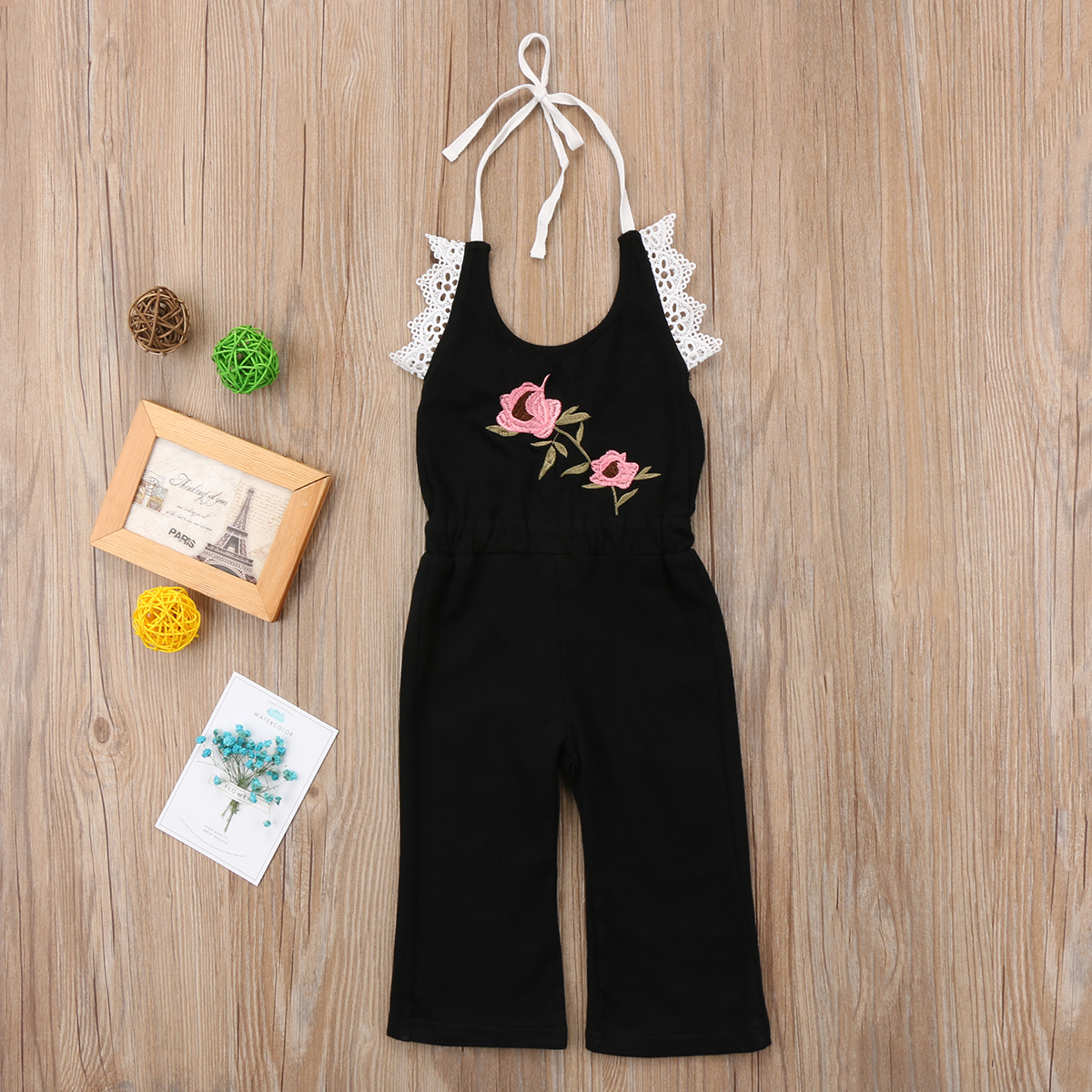 2018 New 1-6Y Toddler Kids Girls Overall Summer Lace Flower Strap Black Romper Jumpsuit Outfit Cute Floral Clothes for Girls