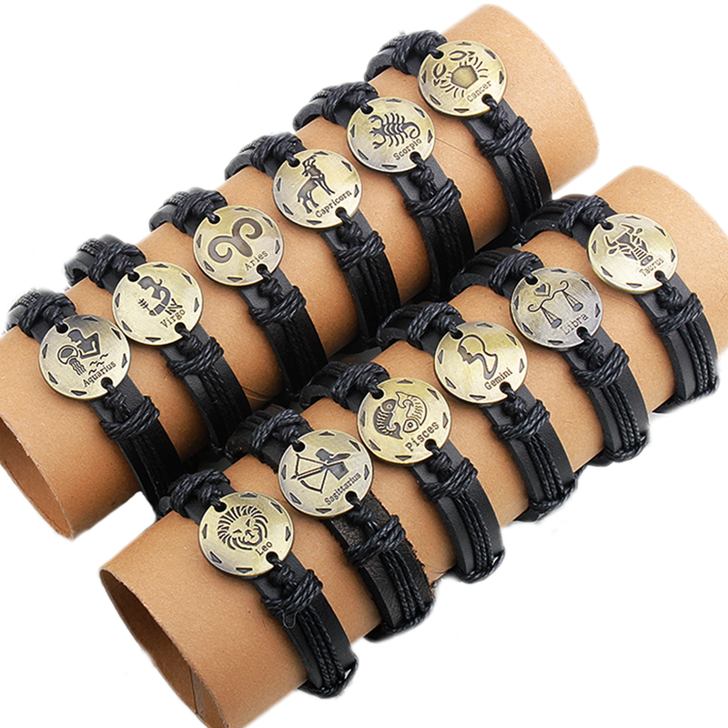 (12 Pieces/lot) Black Leather Leo Taurus Cancer Capricorn Aries Gemini Virgo Libra Scorpio Pisces Aquarius Sagittarius Bracelet