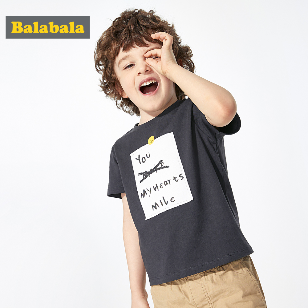 T-Shirt Boy Balabalachildren Clothing Short-Sleeve Letter Printing Baby Cotton Summer