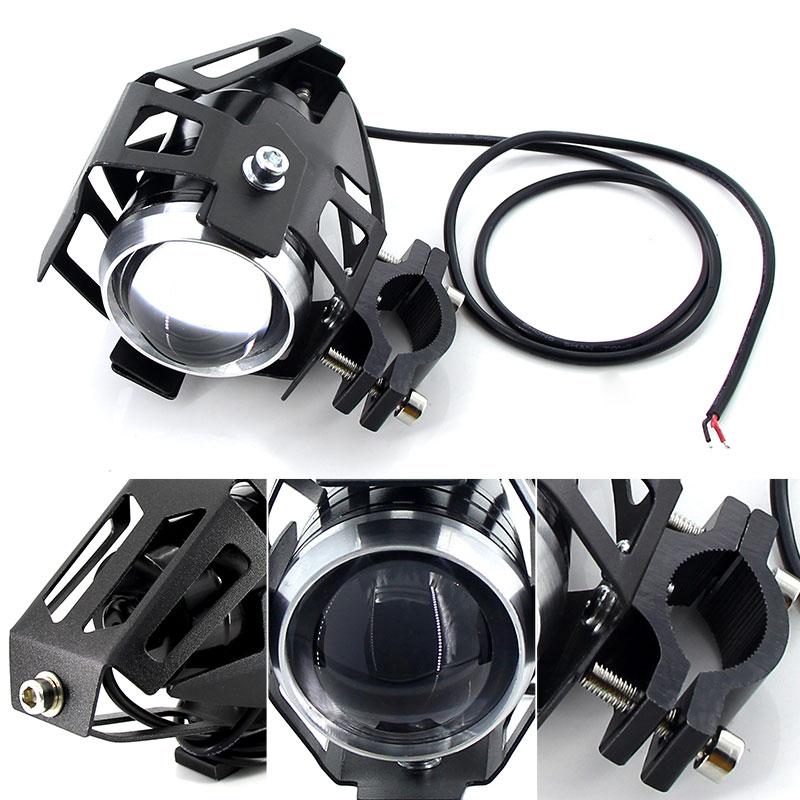 cheapest 2PCS White motorcycle headlights auxiliary lamp U5 led motorbike spotlight accessories 12V moto DRL spot head lights