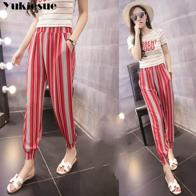 streetwear striped bohemian women's pants capris with high waist harem pants for women trousers woman pants female Plus size