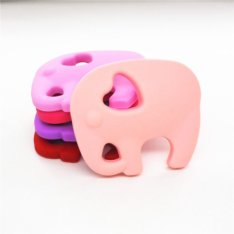 Chenkai 5PCS BPA Free DIY Silicone Elephant Teether Baby Animal Pacifier Dummy Nursing Soother Sensory Toy Gift Accessories