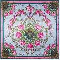 Nuevo Estilo de Otoño E Invierno Señoras De La Manera Bufandas 90 Cm * 90 Cm de la Bufanda de Seda Rosa Patrón de Flores de Primavera Del Color Del Encanto de Las Mujeres bufandas