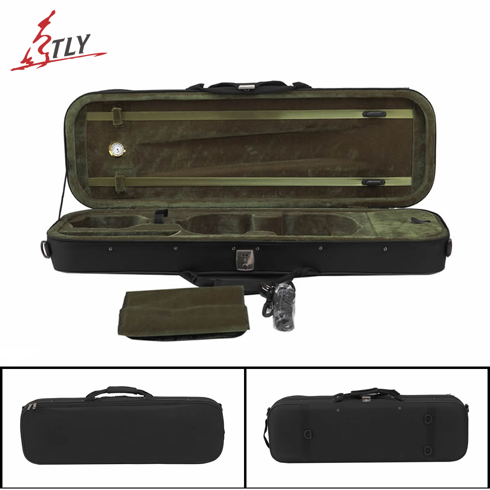 Free Shipping Black Oxford Full Size Violin Case 4/4 w/ Hygrometer High Quality Foamed Violino Case high grade pleuche rectangle violin case 4 4 3 4 1 2 1 4 w hygrometer black oxfordbuit in high quality violino case
