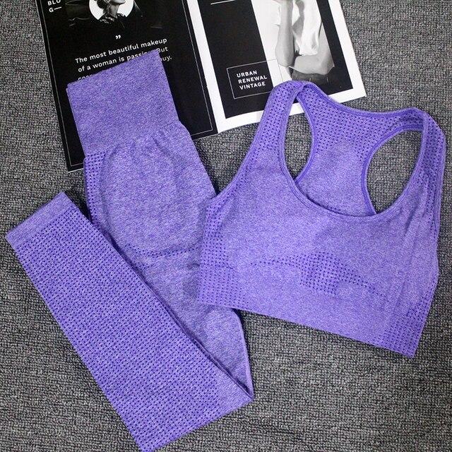 חיוני חלקה יוגה סט נשים כושר בגדי ספורט אישה כושר חותלות גרביונים מרופד לדחוף למעלה חזיית ספורט 2 Pcs ספורט חליפות