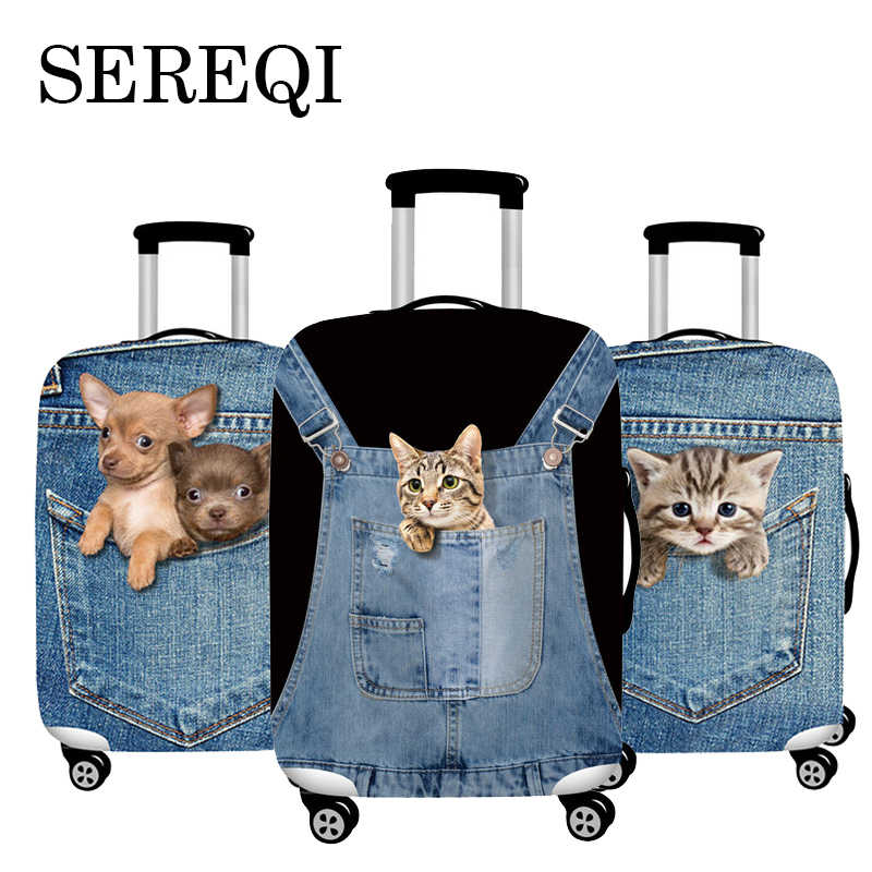 SEREQI Cat Dog Travel Luggage Cover For 18-32Inch Suitcase Travel Bag Protection Case Luggage Bag Dust Cover Travel Accessories