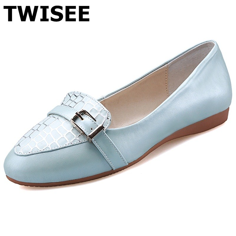 TWISEE Pointed Toe Slip-On Beautiful Metal Decoration chaussure femme women flat shoes summer flats Comfortable pu leather weweya 2017 summer candy colors ladies flats fashion pointed toe shoes woman new flat shoes women plus size chaussure femme
