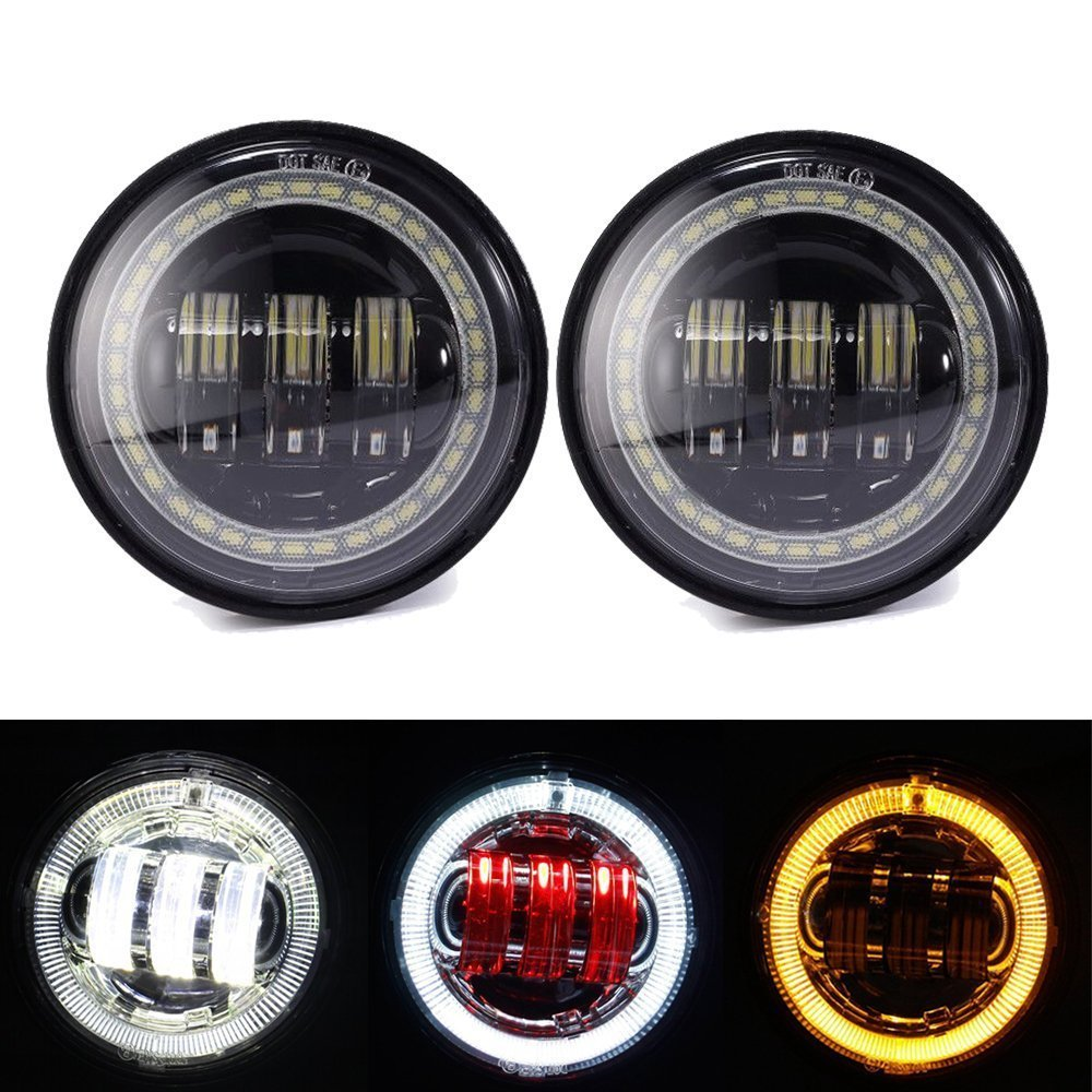 4.5 inch Fog Light white Angel eyes DRL amber turn signal Red Demon eyes LED fog Lamp for Harley Davidson
