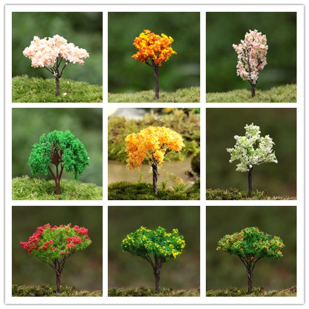 Hotsale Colorful Miniature Artificial Trees Flower Fairy Garden Gnomes Moss  Mini Crafts Terrarium Decorations For Home