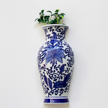 Metope Vase Ceramic Wall Hanging Flower Receptacle Blue and White Porcelain Of Jingdezhen Ceramics