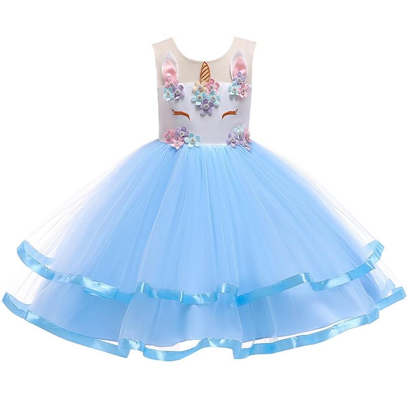 2019 girls dress Christmas party Unicorn flower girl princess new unicorn Colorful mesh