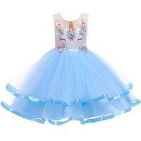 2019 girls dress girls Christmas party dress Unicorn flower girl princess dress new unicorn Colorful mesh girl flower dress